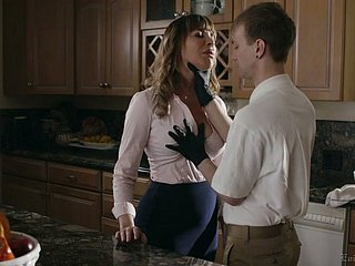 Busty whorable housewife Dana DeArmond rides gumshoe coupled with gets poked mish