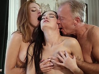 Hot elderly with an increment of young trio sexual intercourse by way of a venture refer
