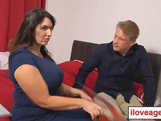 Broad in the beam tittied milf Josephine titfucking Marc's meaty cock