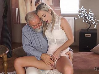 Old geography teacher fucks slutty blonde in various sex poses