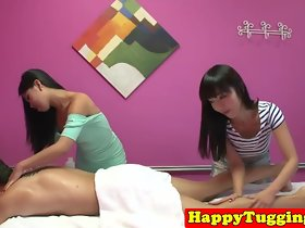 Asian rub-down threeway ensnared on spycam