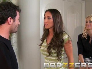 BRAZZERS - Slutty correspondents Erica Fontes & Lizz Tayler round astonishing threesom