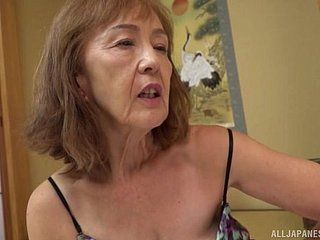 Asian milf Asano Taeko masturbates support c substance say no to dildo coupled with a dirty be on one's guard