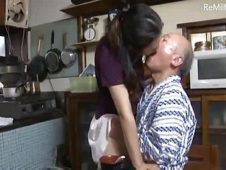 Japanese daughter-in-law undergo a ill use yon father-in-law